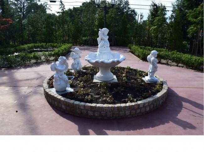 庭の真ん中に噴水を設置しました。